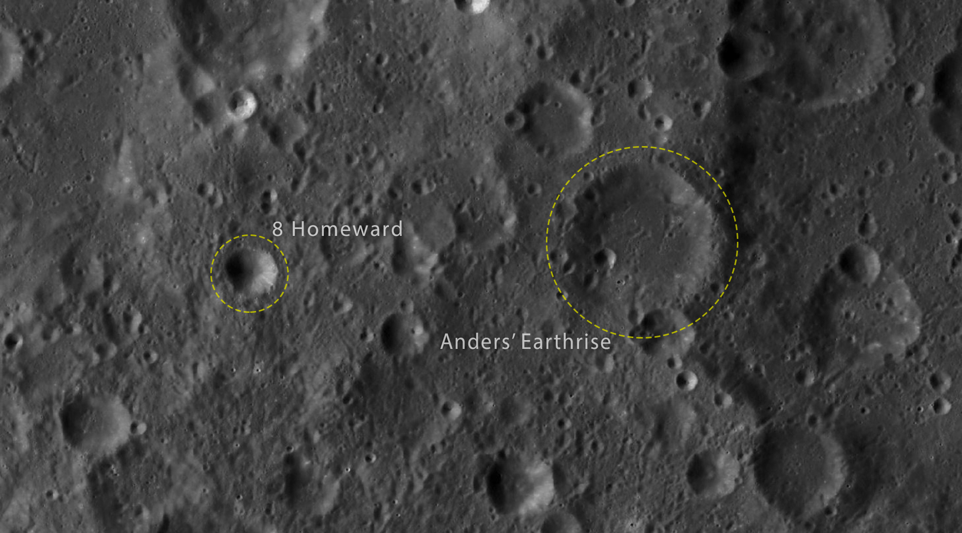 Orbital view of the Moon with new 8 Homeward and Ander's Earthrise highlighted and labeled.