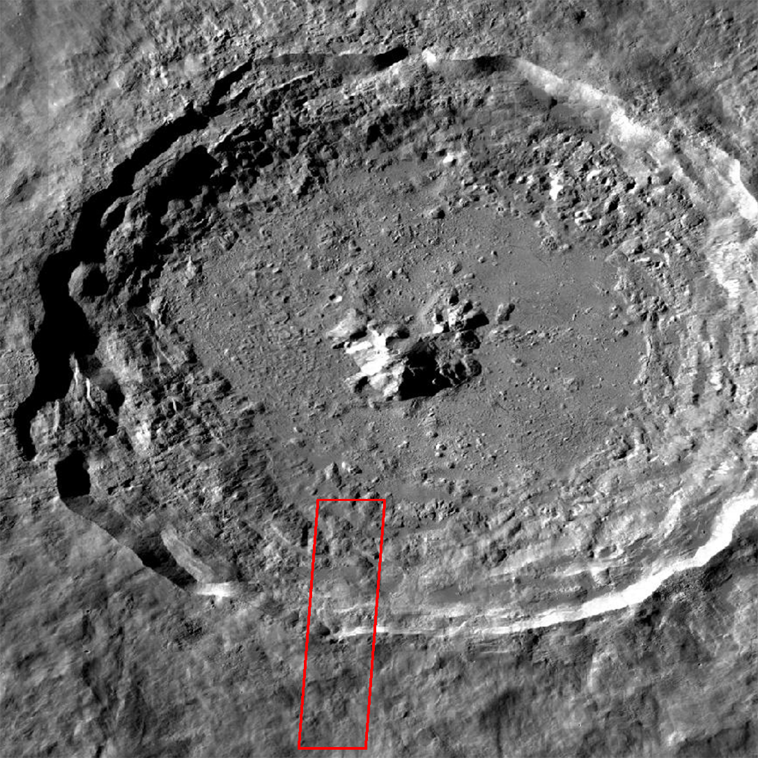 crater with box marking location of 3D image on this page