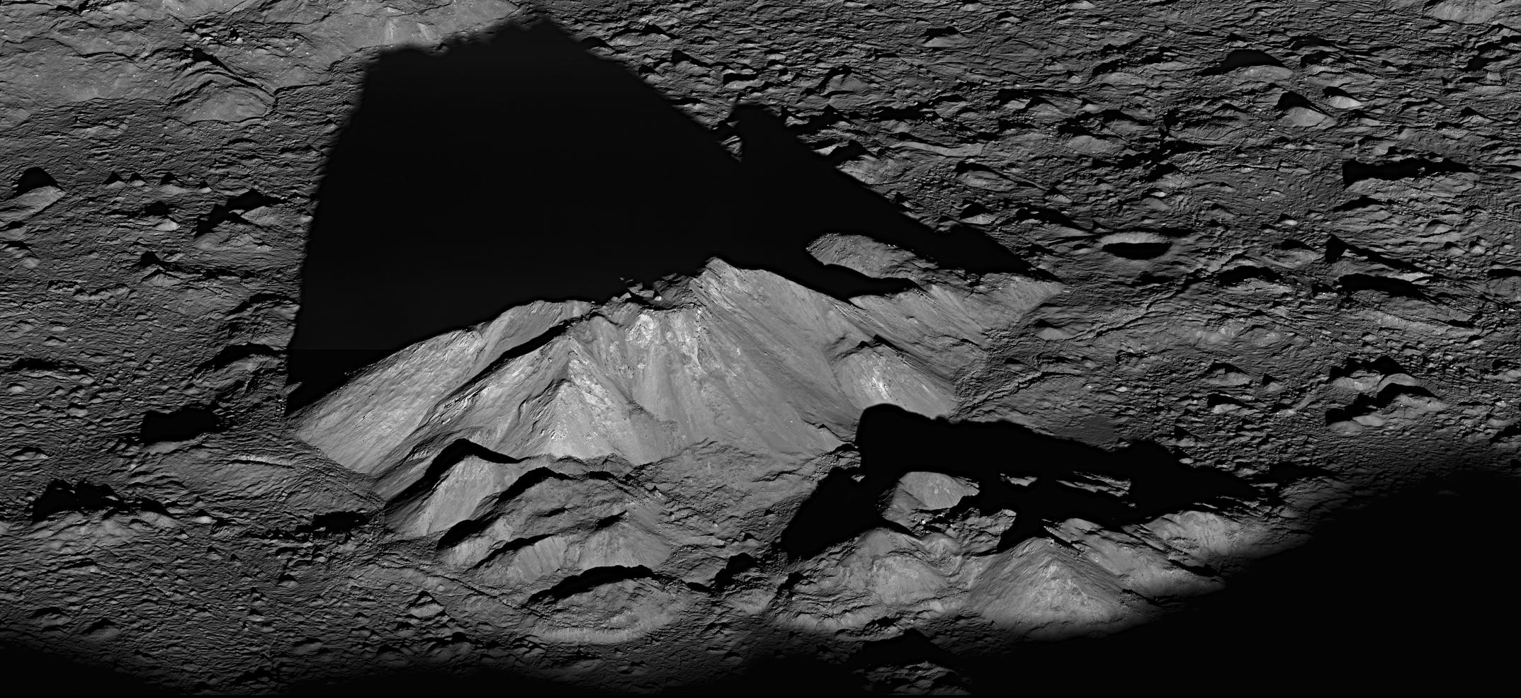 Color image of mountain on the Moon.