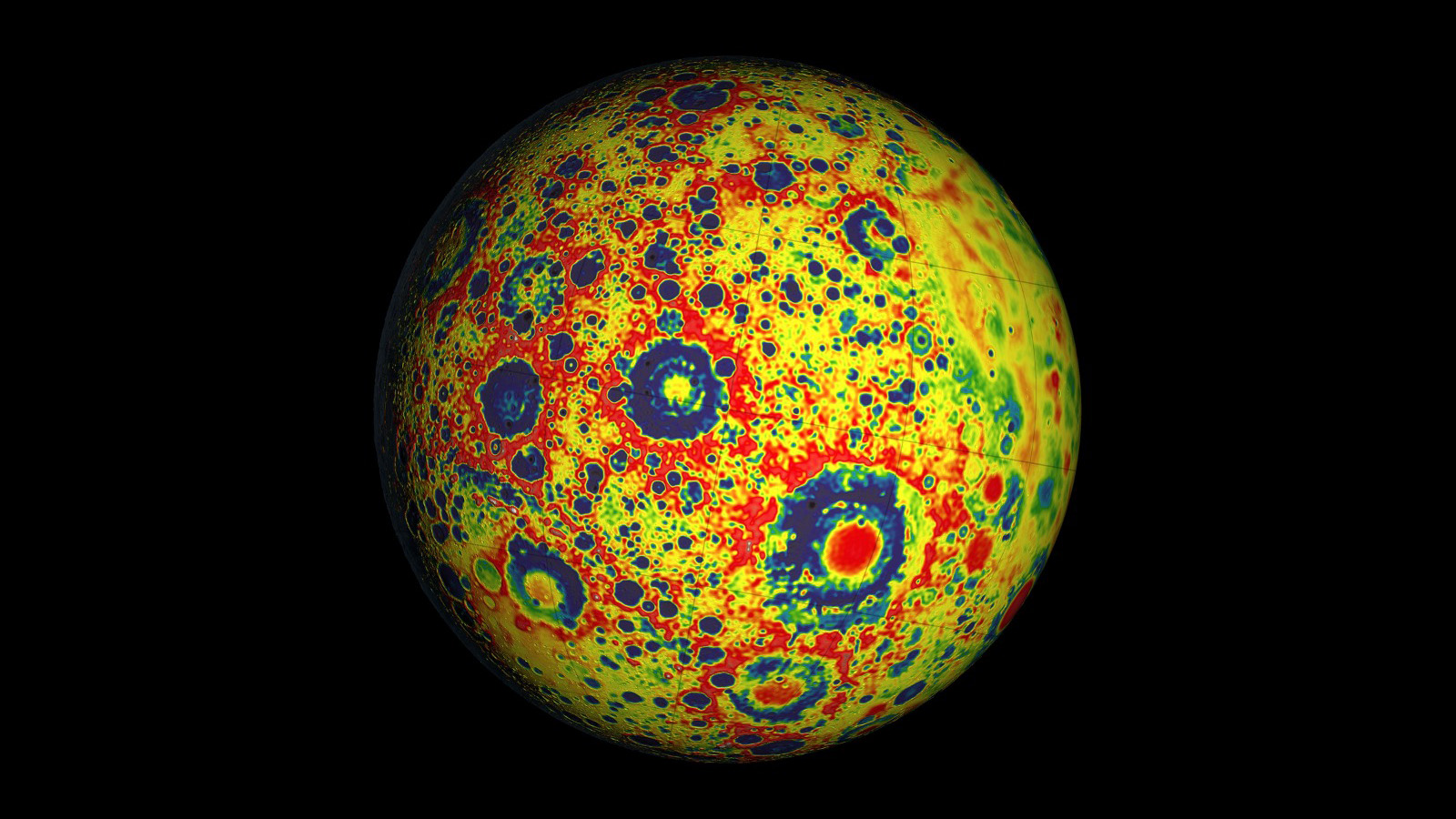Color-enhanced image showing gravity on globe of the Moon.