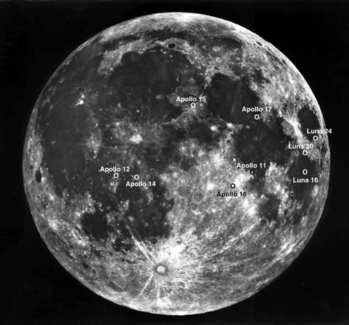 Black and white image showing Apollo and robotic sample collection sites on the Moon.