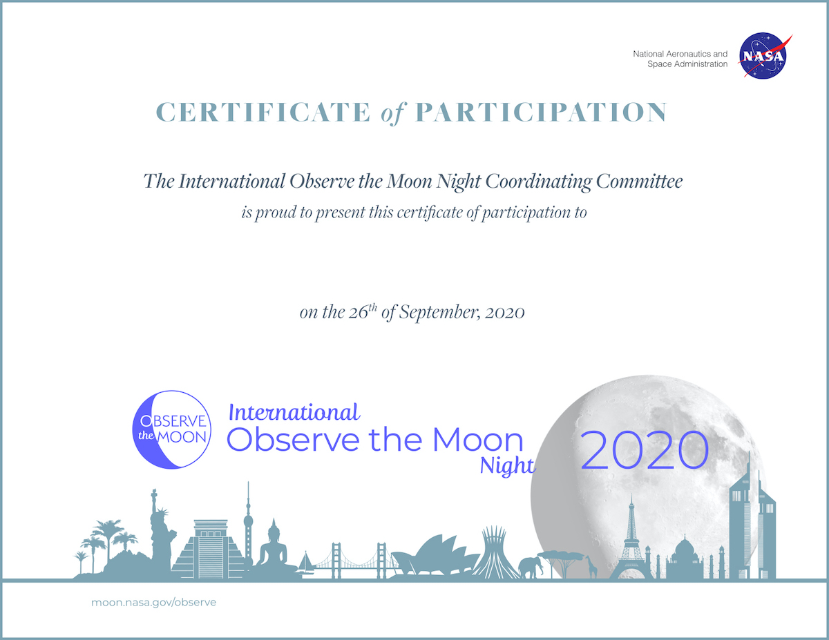 International Observe the Moon Night participation certificate
