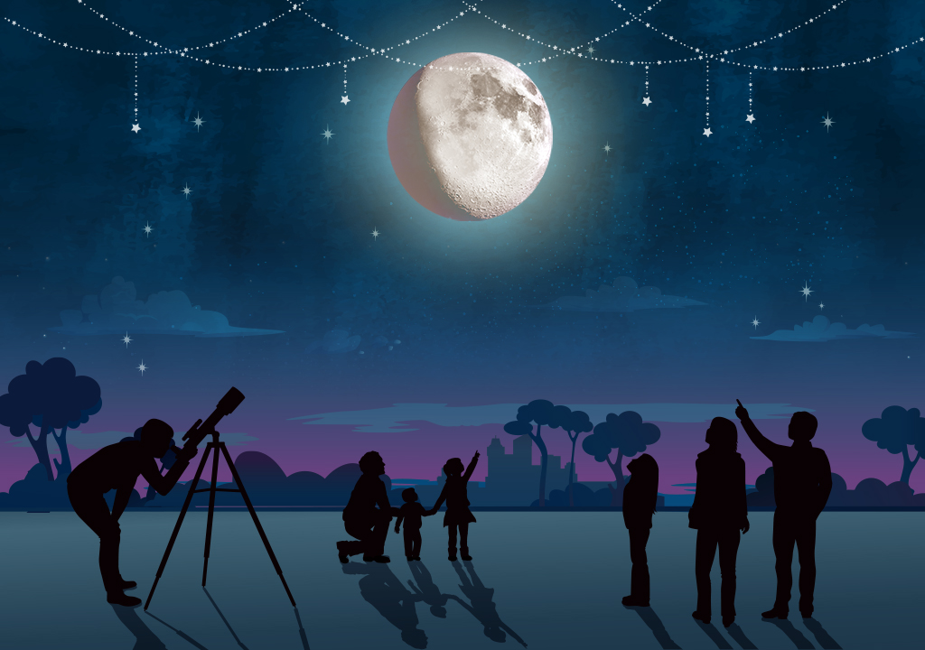 Illustration of a night time gathering of skywatchers looking at the Moon