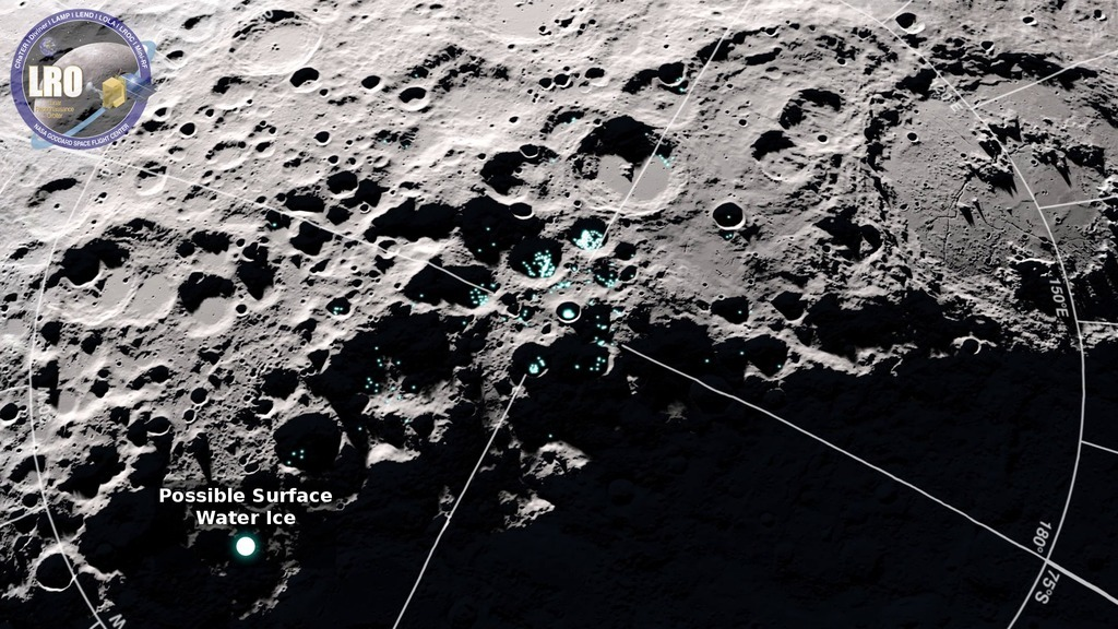 Color image shows locations of possible water-ice in dark craters on the moon.
