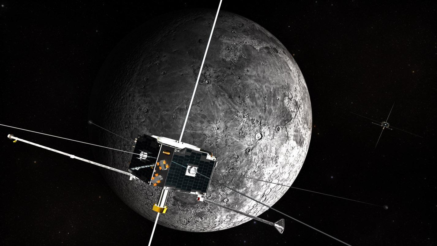 Illustration of twin spacecraft orbiting the Moon.