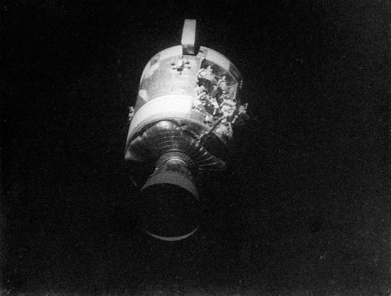 spacecraft with visible damage to its structure