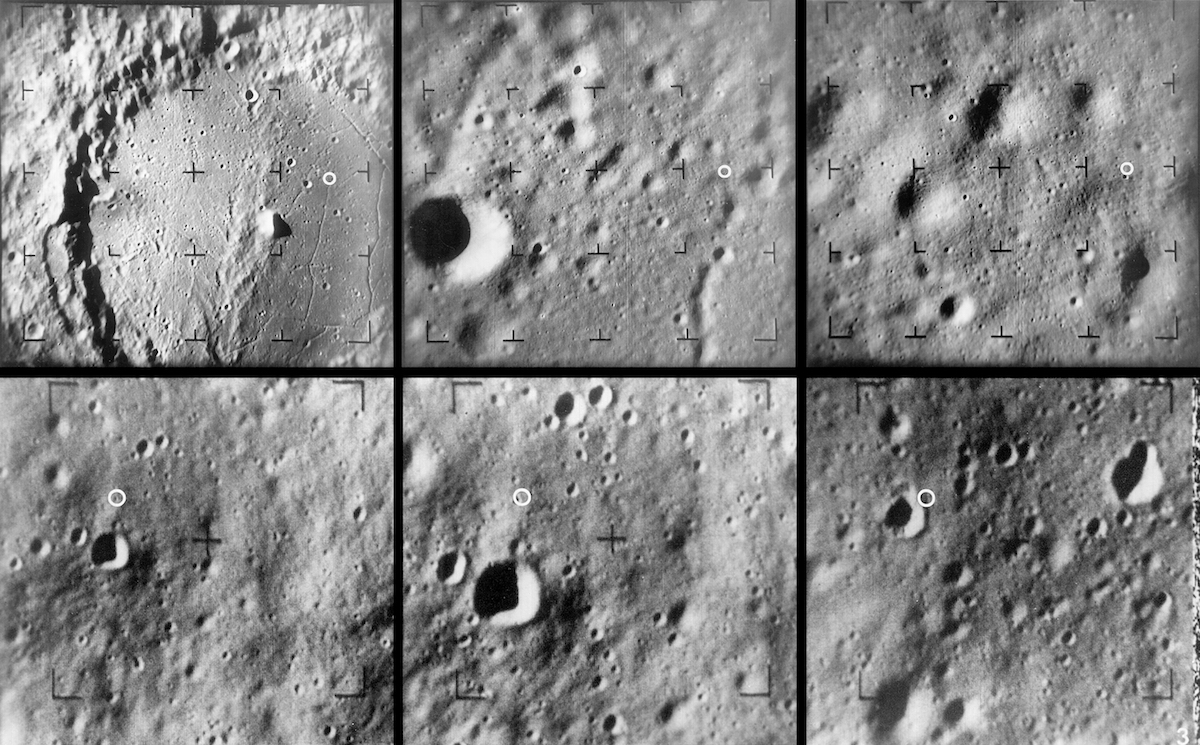 six frames, each showing the Moon's cratered surface more closely
