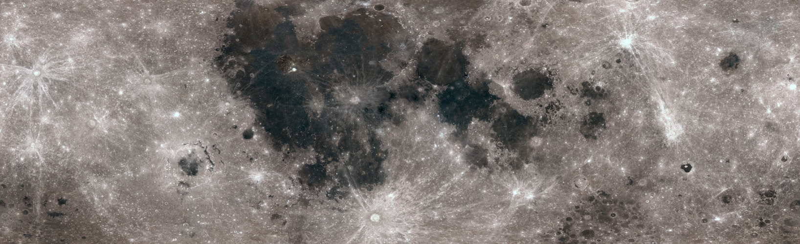 flat projection map of full lunar surface