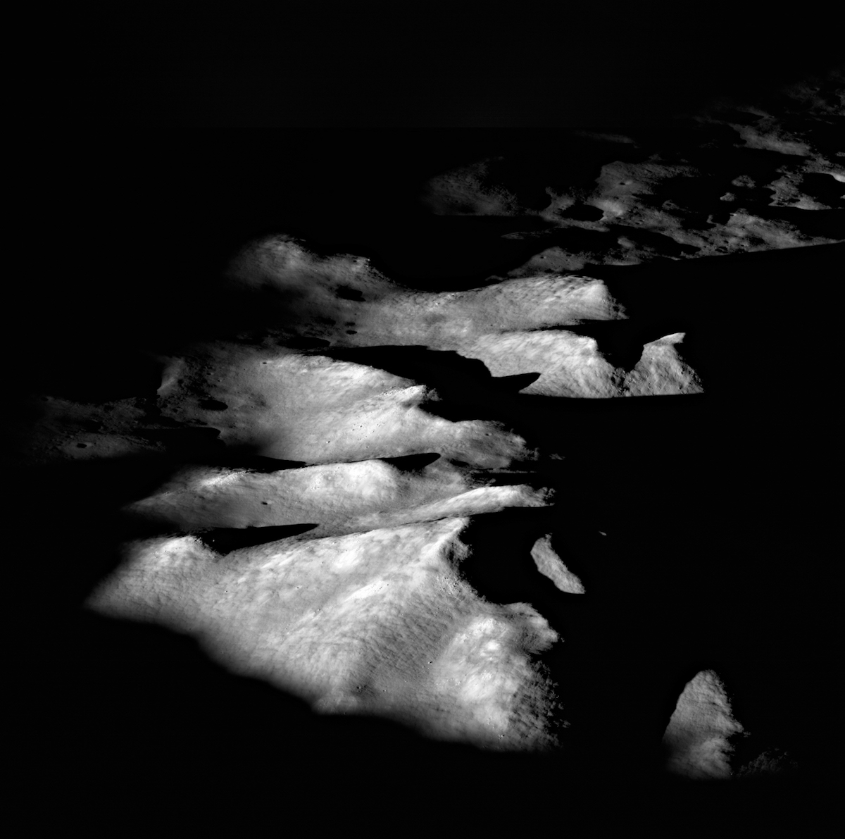 shadowy mountains on the Moon