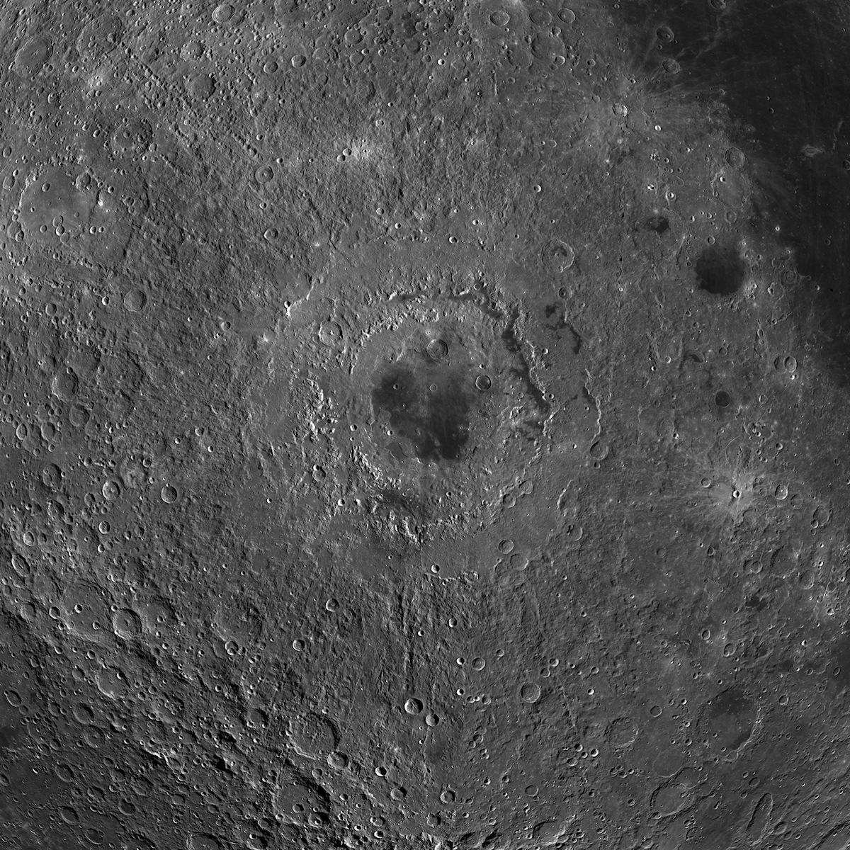 A mosaic of images from NASA's Lunar Reconnaissance Orbiter centered on the Moon's Orientale basin.