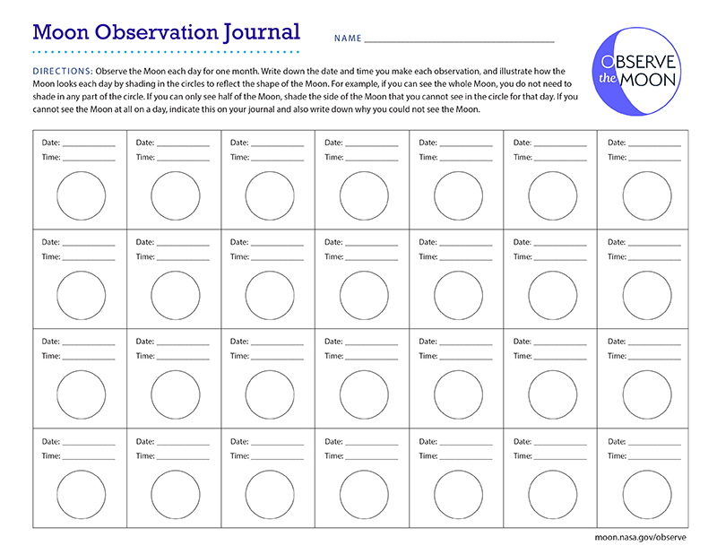 Link to moon journal with a page to color in moon phases.