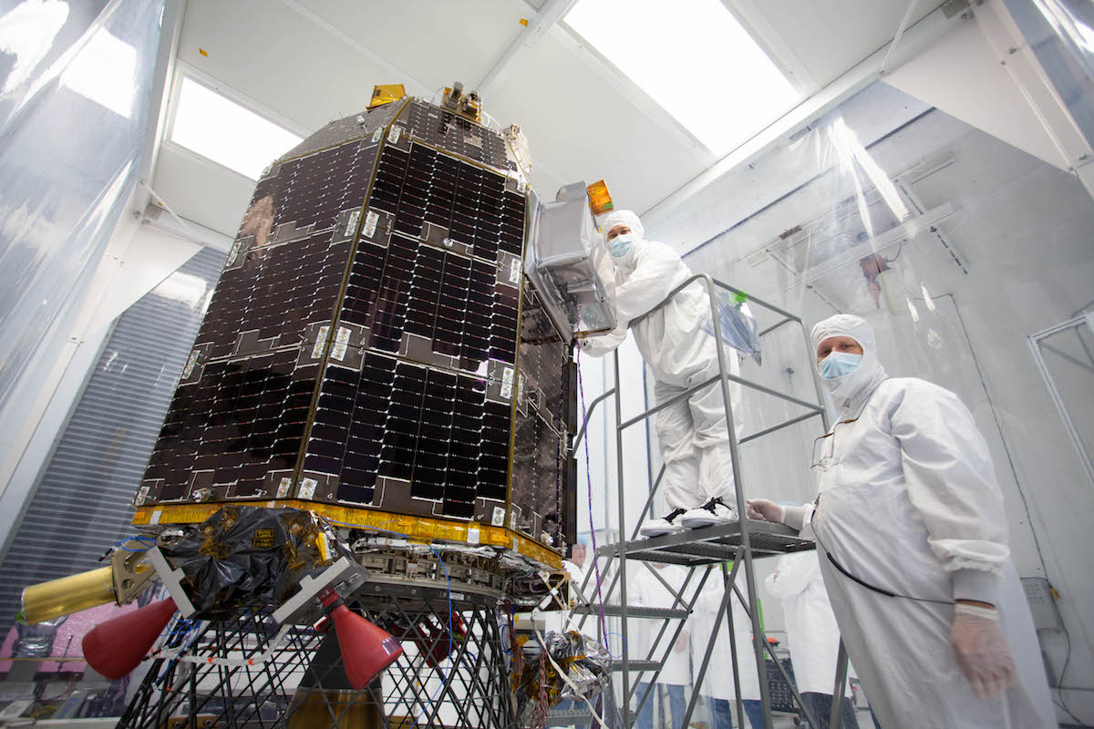 Engineers prepare NASA's Lunar Atmosphere and Dust Environment Explorer (LADEE) spacecraft for acoustic environmental testing.