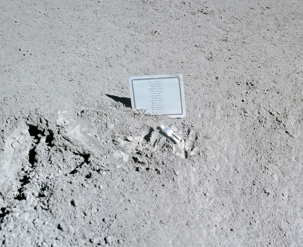 A close-up view of a commemorative plaque left on the Moon at the Hadley-Apennine landing site.