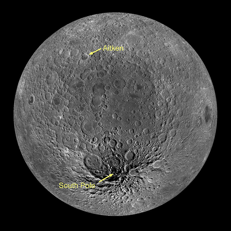 the heavily-cratered south polar region of Earth's Moon