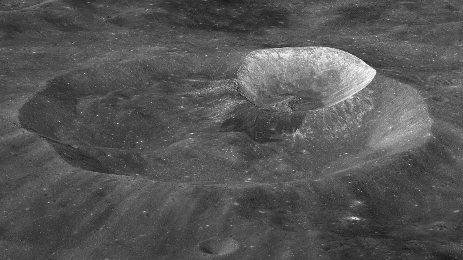 Double impact crater on the Moon.