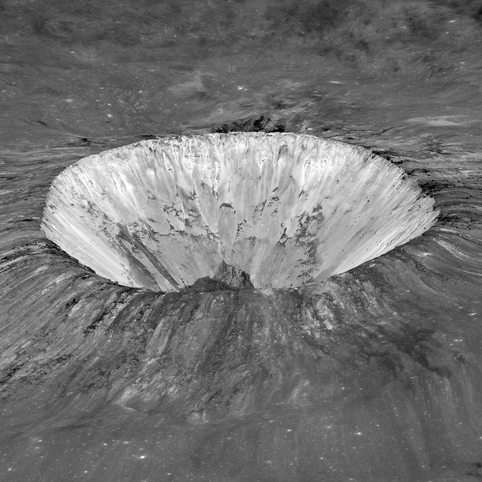 view of round, deep lunar crater