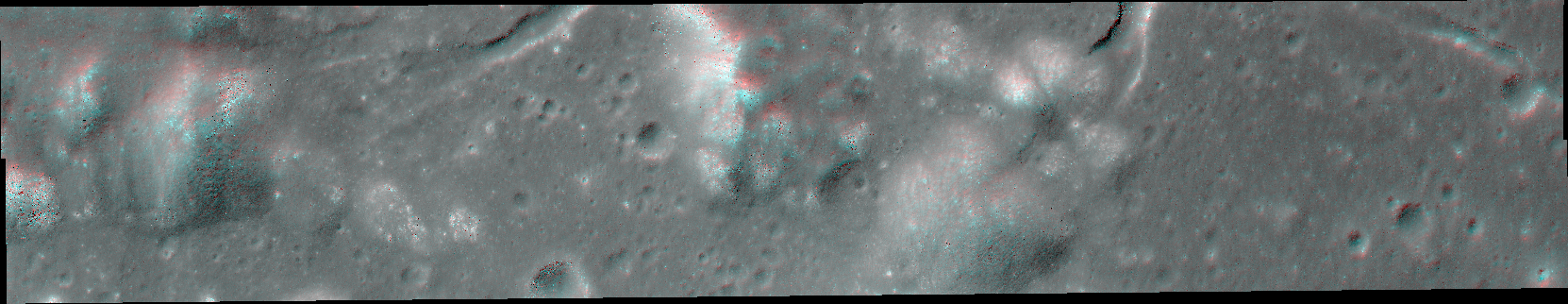 Red-blue 3D anaglyph of rough lunar terrain seen from above