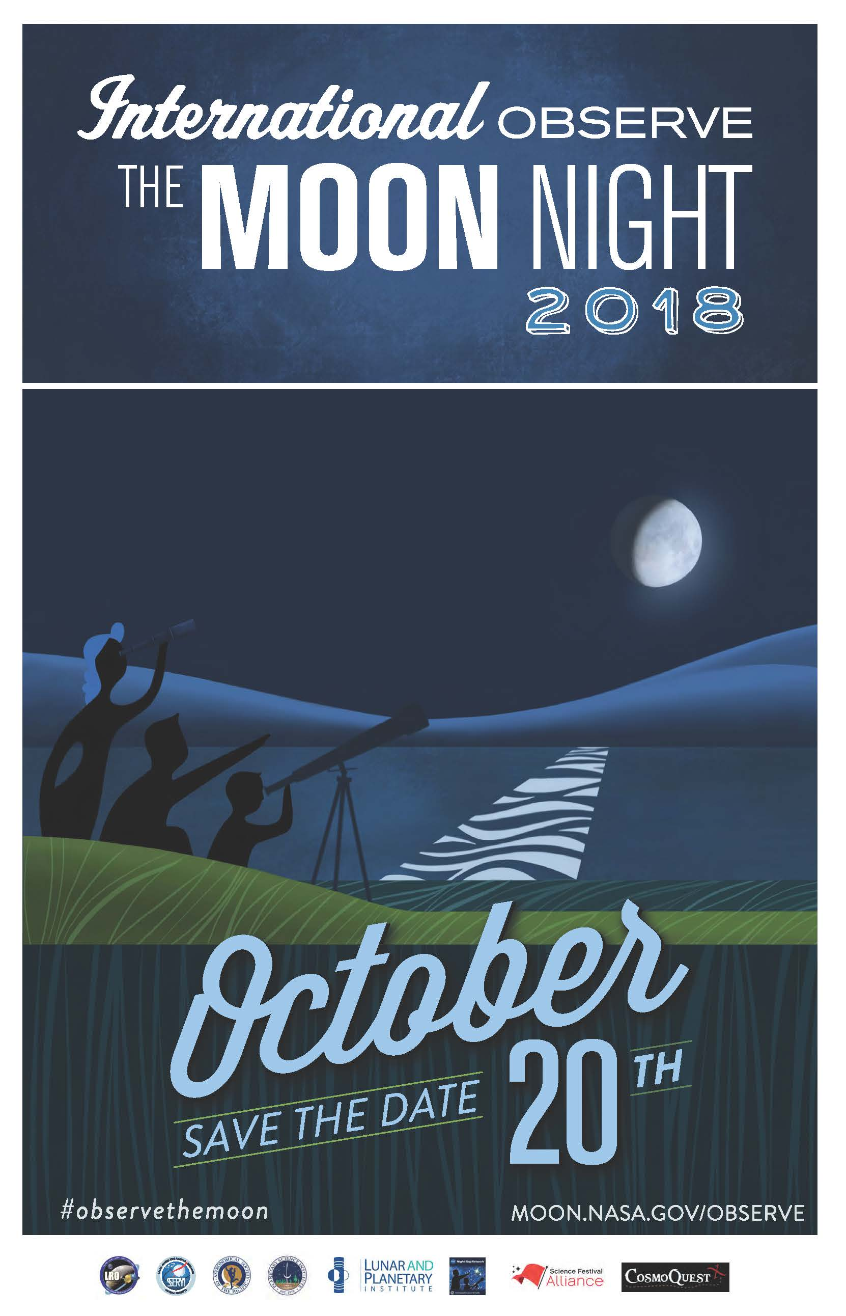Whimsical poster suggesting people plan to celebrate International Observe the Moon Night on Oct. 20, 2018.