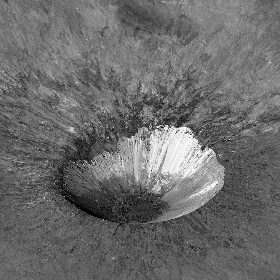 sharply defined crater