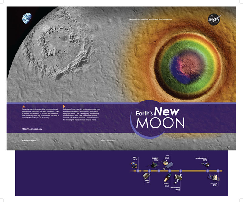 This colorful folder design focuses on our moon's stunning beauty and features a brief history of recent exploration.