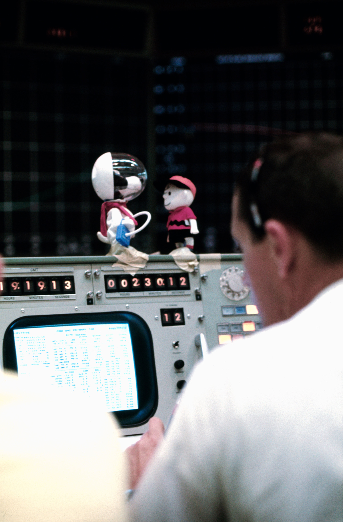 Replicas of Snoopy and Charlie Brown on mission control console