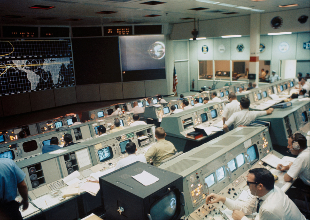 View of mission control center