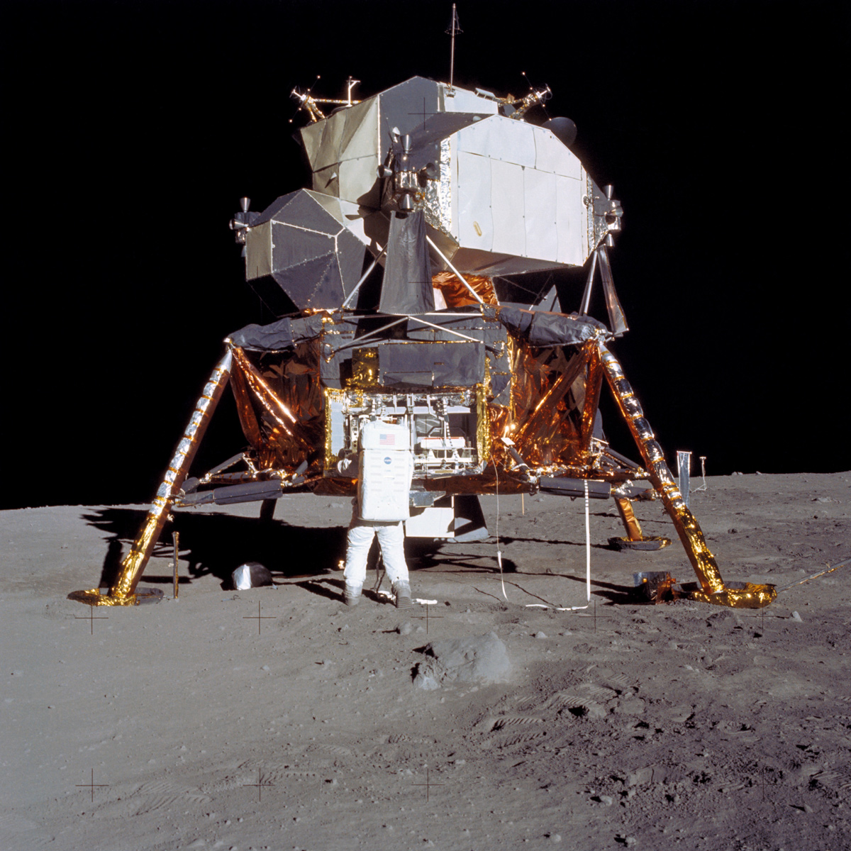 Lunar module on surface of moon