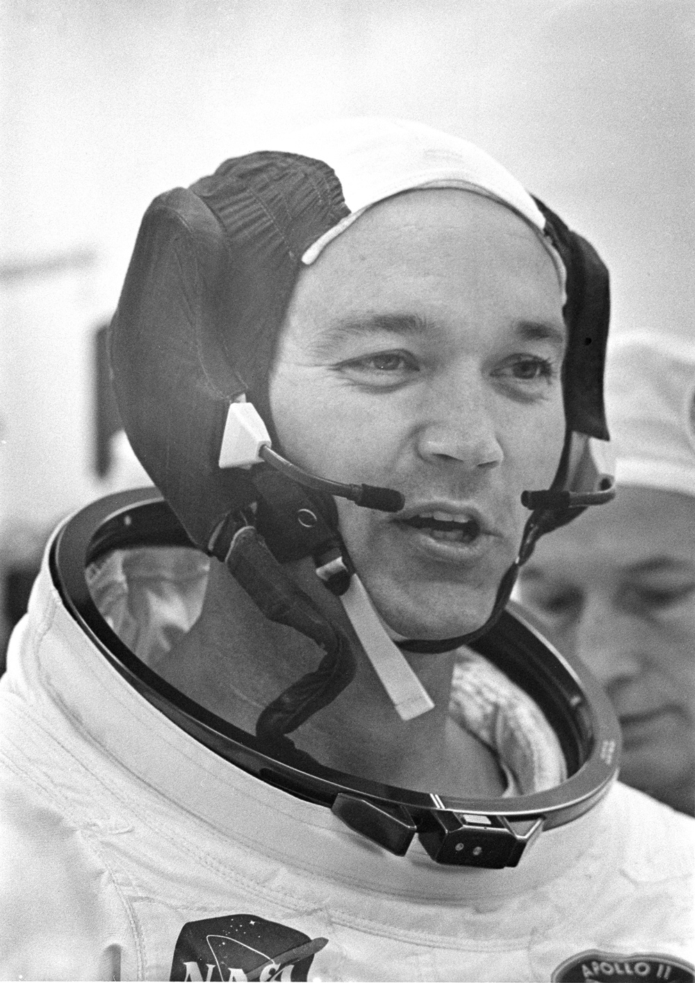 Command Module pilot Michael Collins in his space suit