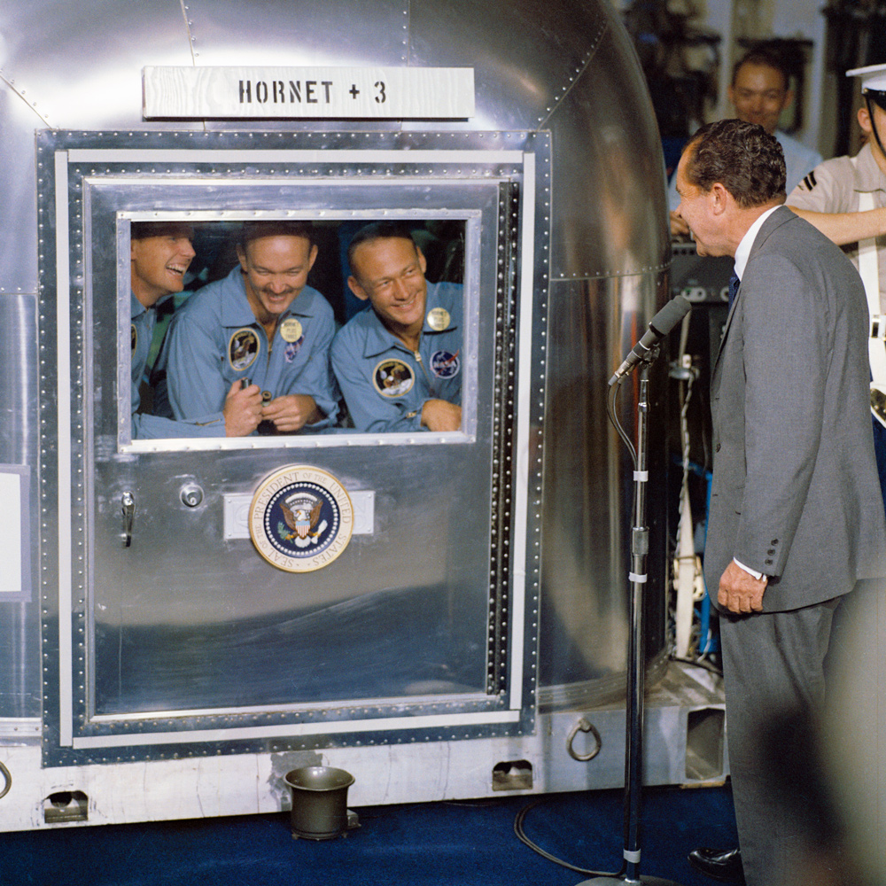 Richard Nixon greeting the three Apollo 11 astronauts