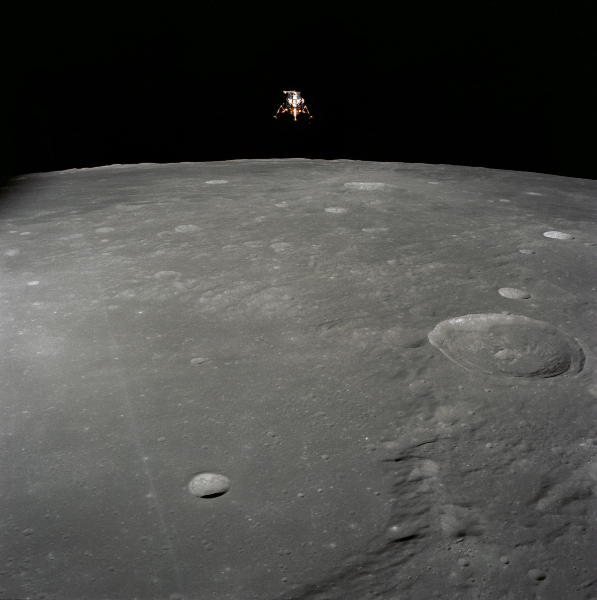 The Apollo 12 Lunar Module in lunar orbit