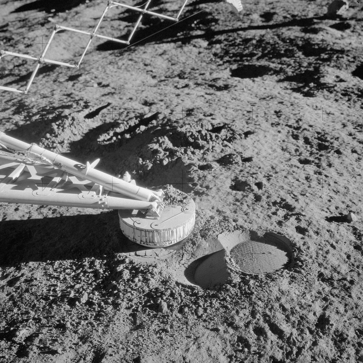 Close-up of the footpad of Surveyor 3 on lunar surface