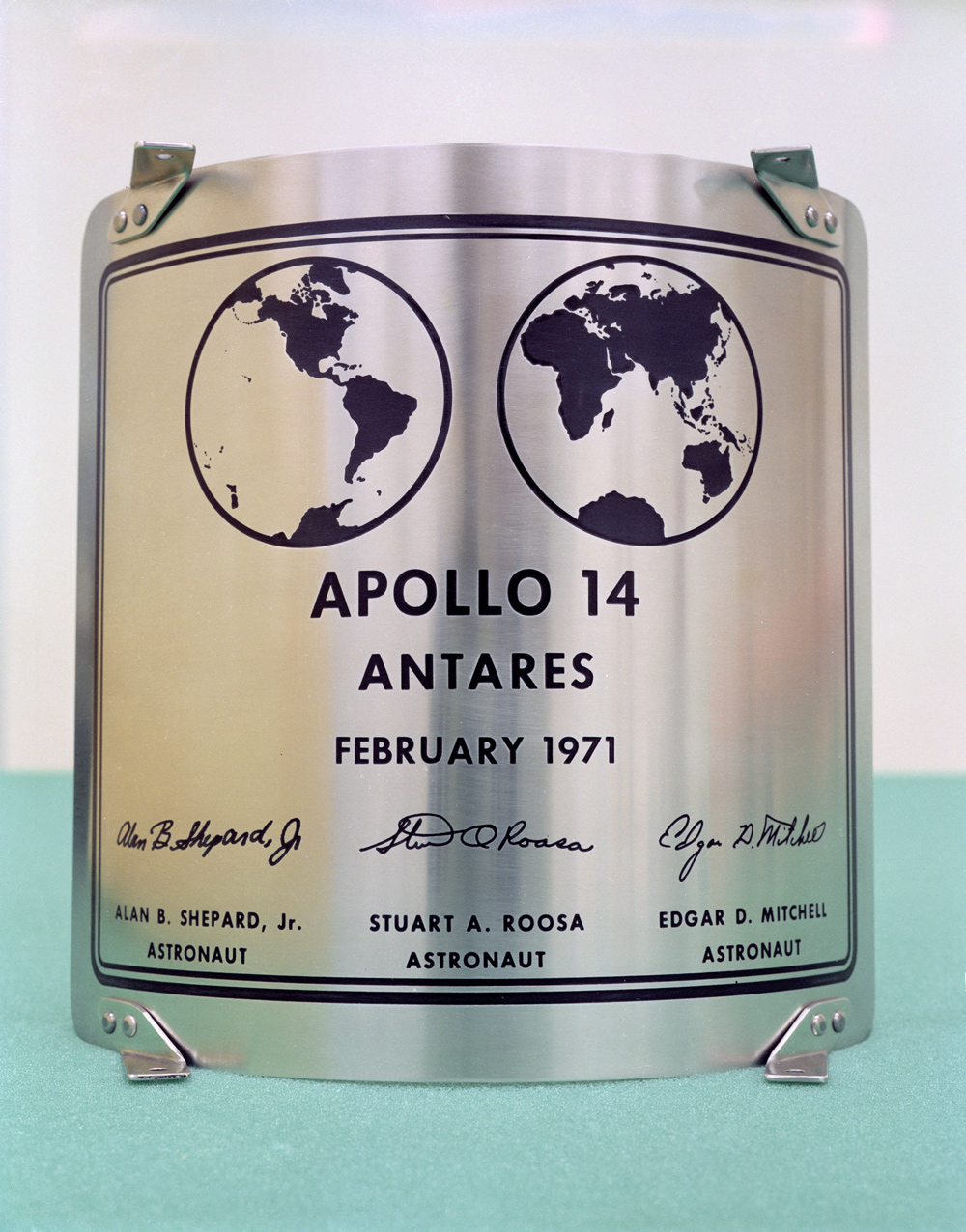 Apollo 14 plaque signed by three astronauts
