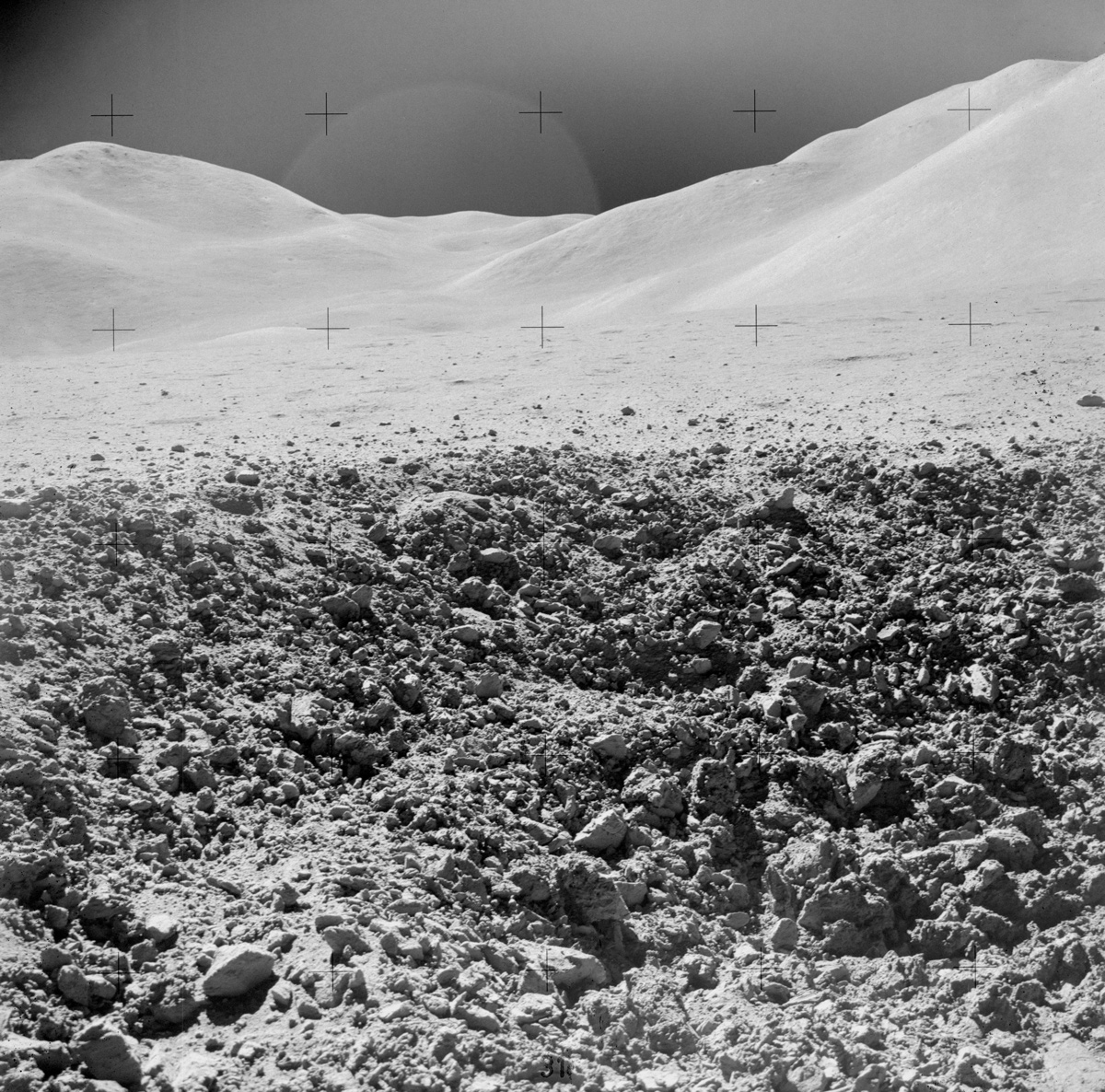 View from surface of lunar crater