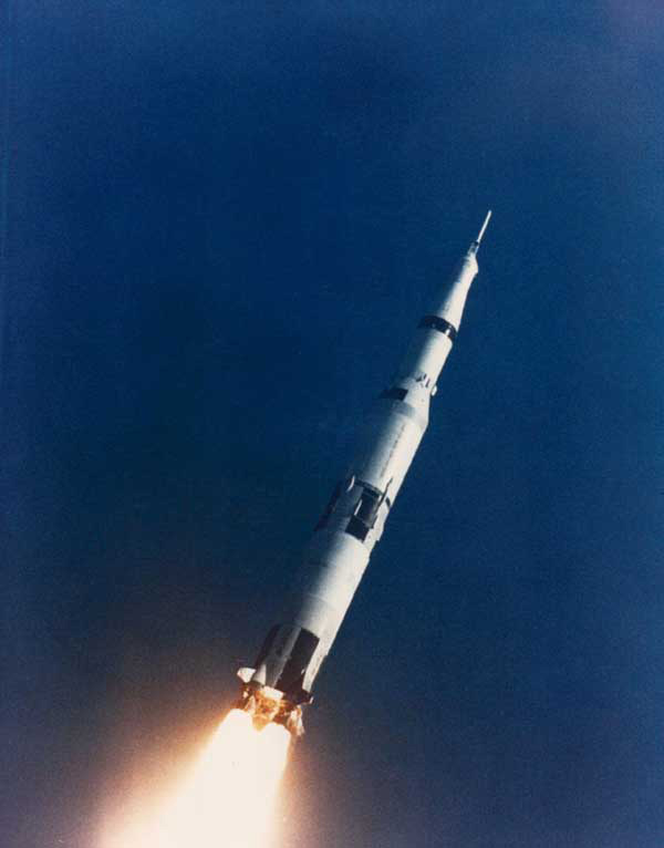 Apollo 6 spacecraft climbing to orbit