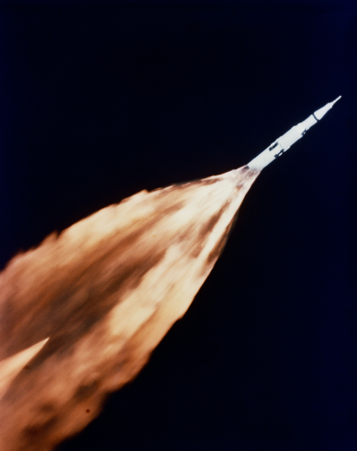 Flame trailing from Apollo 6 spacecraft