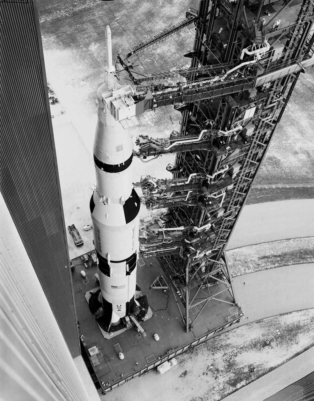 View from above of Apollo 6 on its transporter