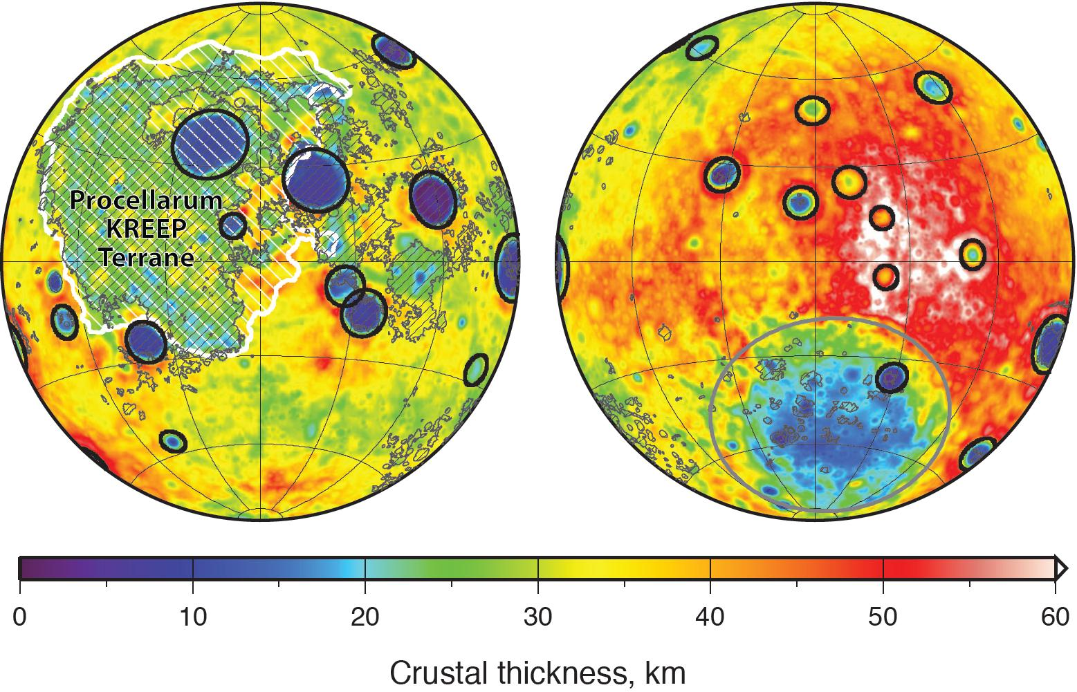 Heat map of crustal thickness of the moon
