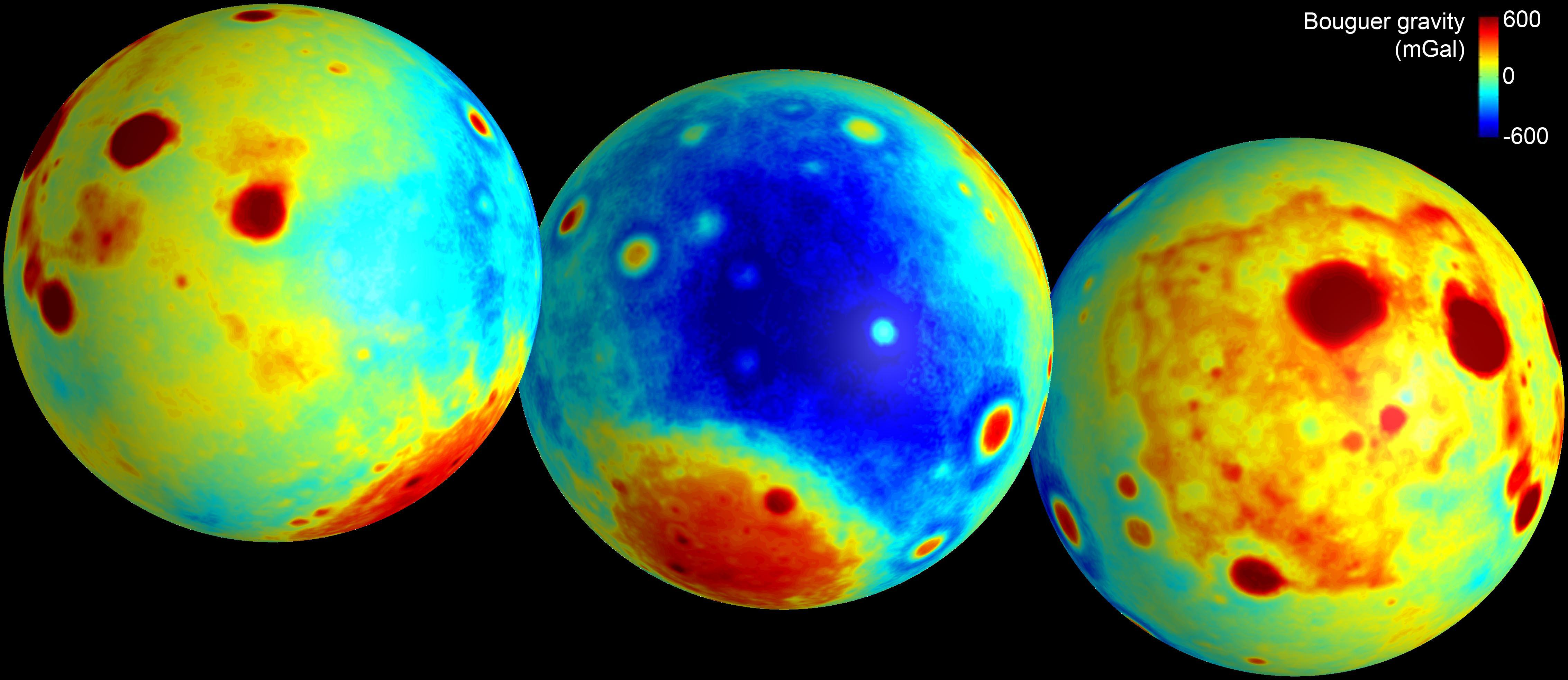 Three heat maps showing the moon's gravity