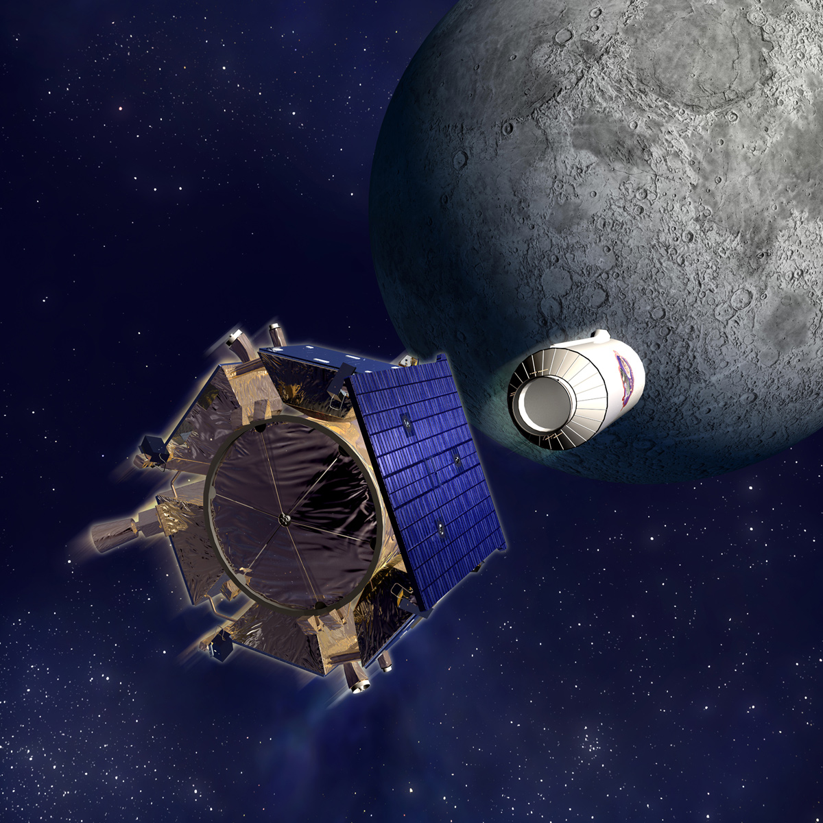 Illustration of two spacecraft flying toward the moon