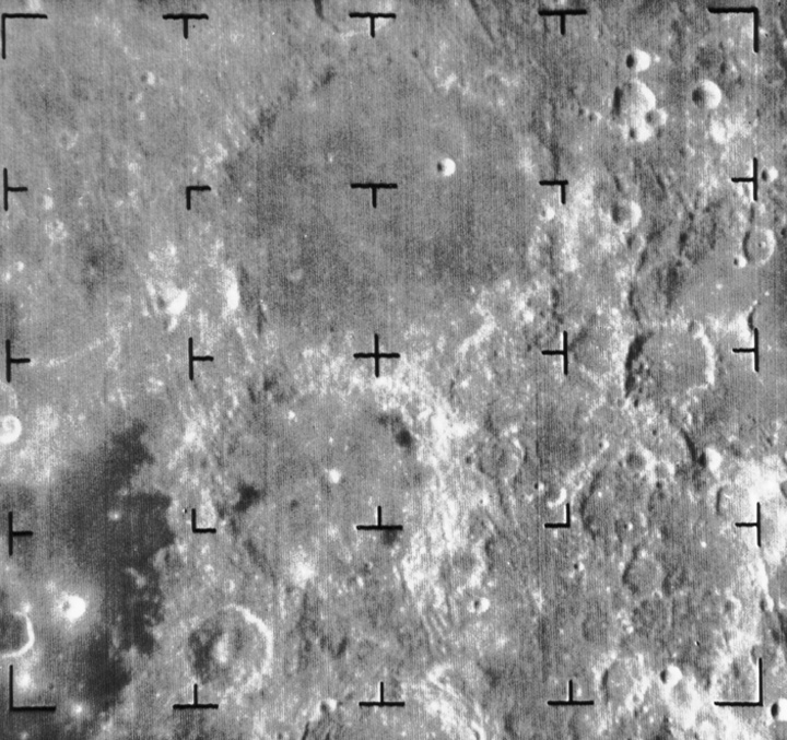 View of two large craters on the moon