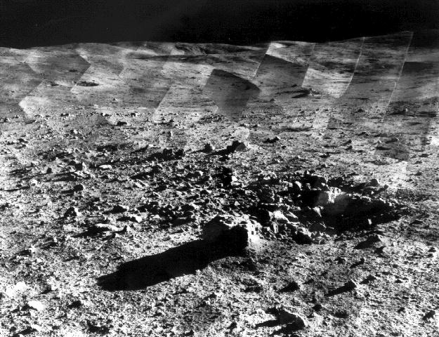 View of crater from the surface of the moon