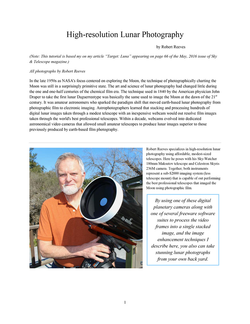 First page of the High-resolution Lunar Photography tutorial