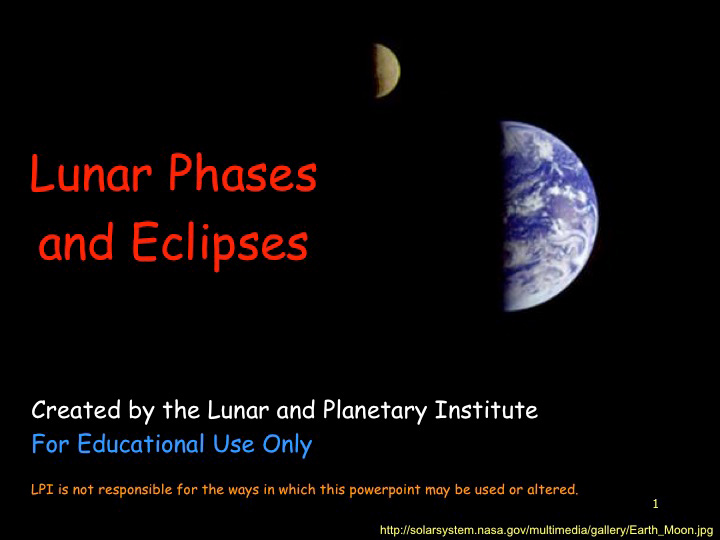 First slide of lunar phases and eclipses presentation