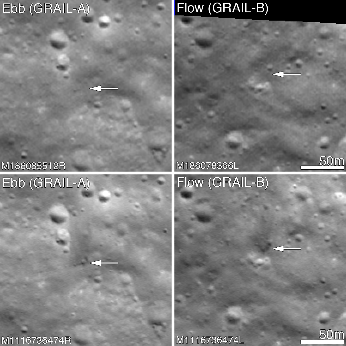 Collection of images showing impact marks of two spacecraft that impacted the moon.