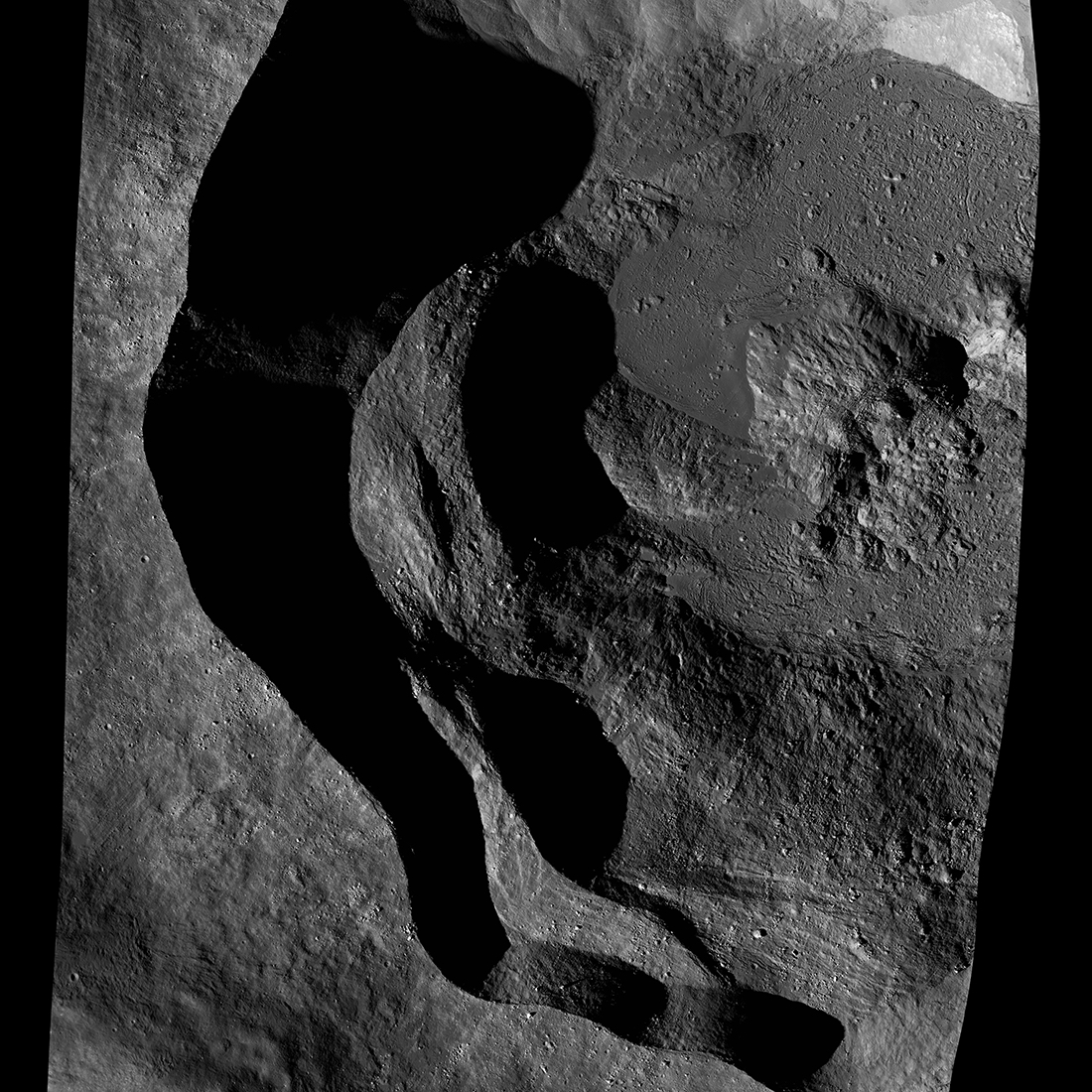 crater with deep shadows
