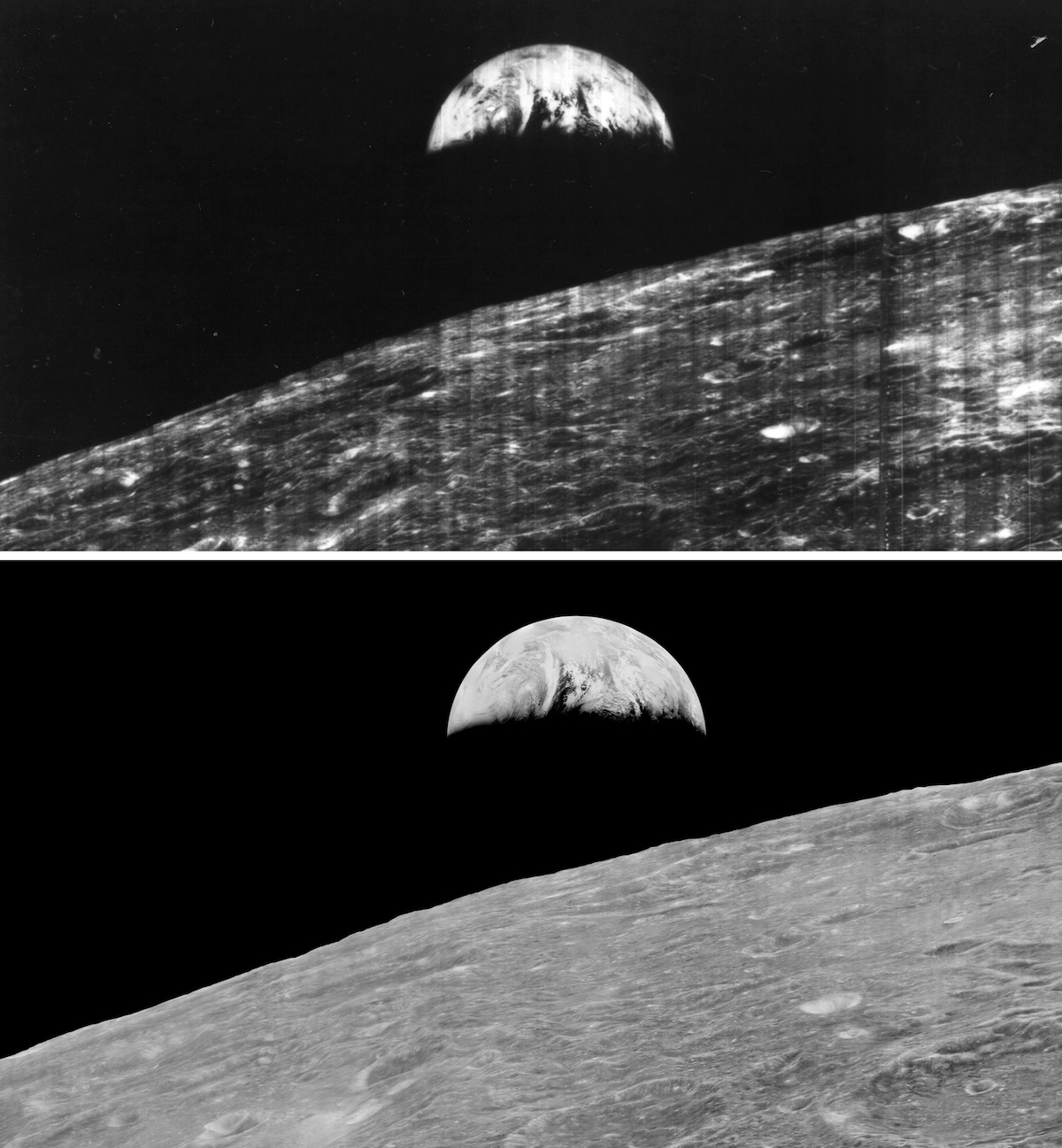 earth rising over lunar horizon in two images, the original and the smoother, restored version