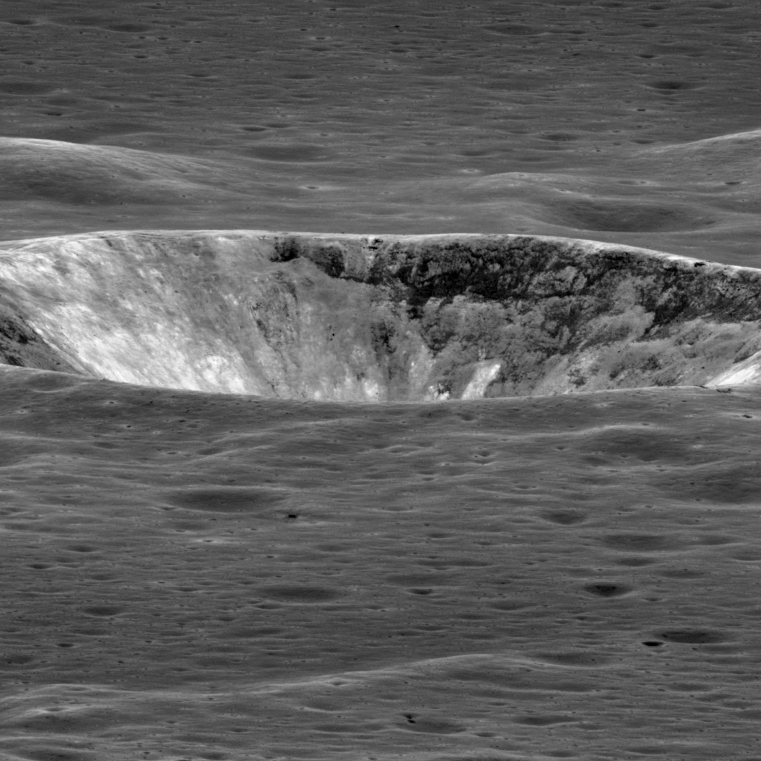 crater seen almost edge-on