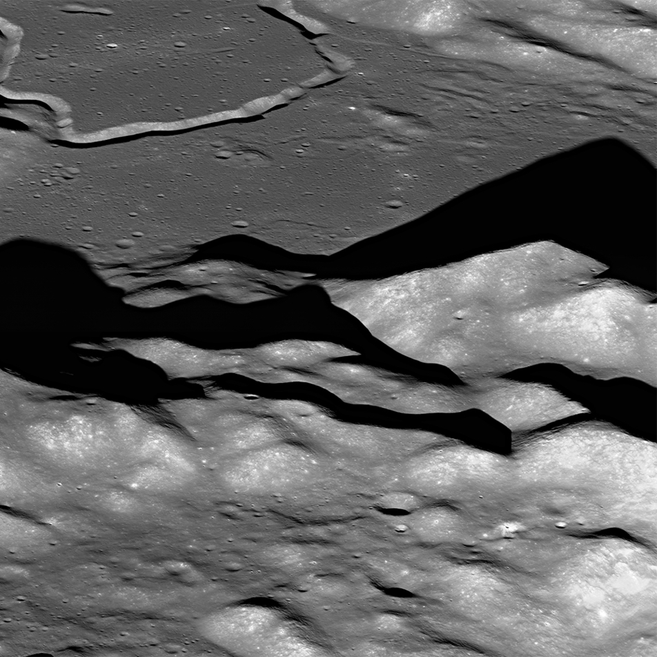 hills and valleys on the lunar surface
