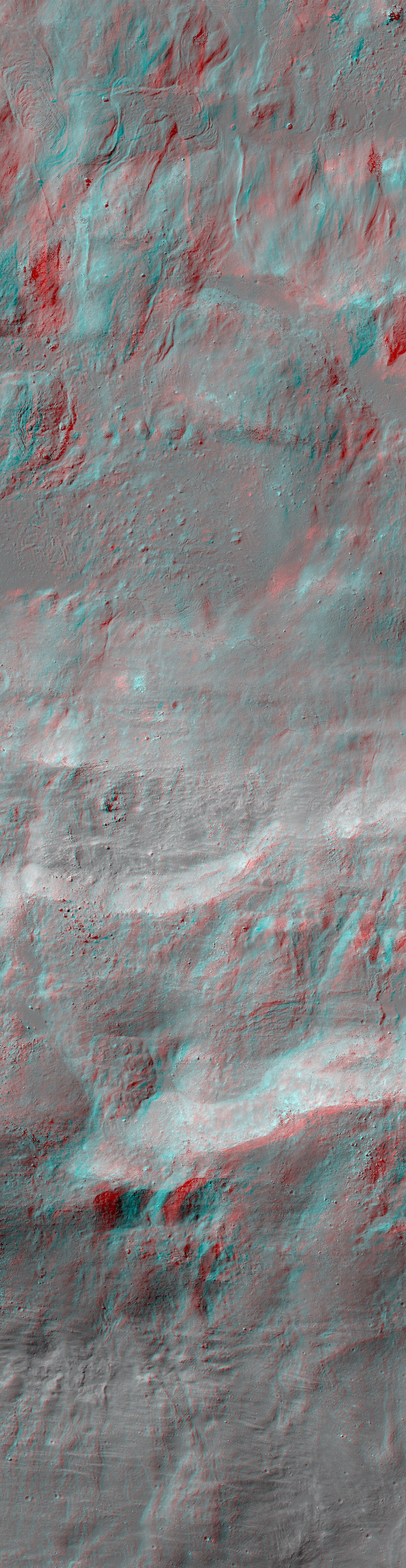 red-blue 3D look at rough lunar terrain