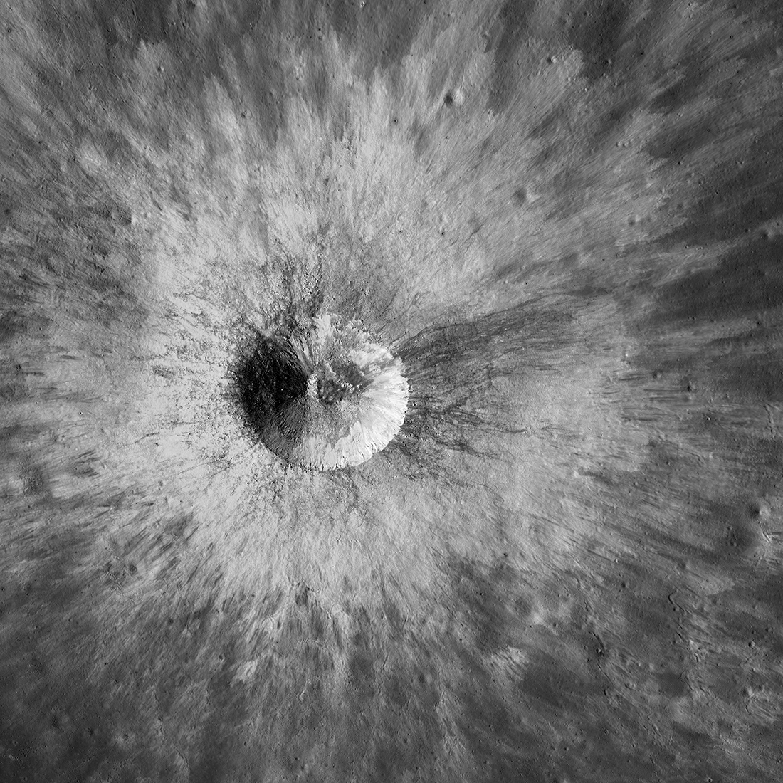 bright crater seen from directly above